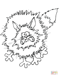 frightened cartoon black cat coloring page free printable