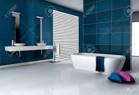 Modern Tiled Bathroom Home Interior Of A Modern Tiled Bathroom With Bathtub And