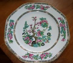 indian tree pattern china plates and oval platter from