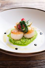 modern cuisine recipes diver maine scallops with kale parsley risotto and tomato confit