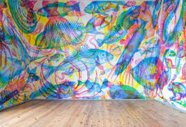 rgb wall art murals shift scenes as lighting color changes