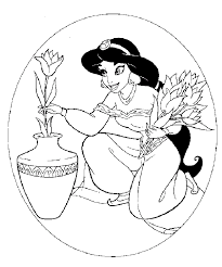 printable coloring sheets princess jasmine flowers