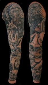 awesome skull sleeve tattoo beautiful art of ink pinterest