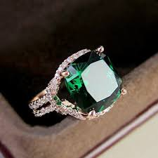 beautiful rose rings images Retro beautiful rose gold color red green stone square cubic jpg