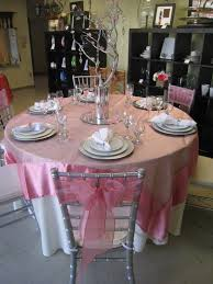 Light Pink Table Cloth Pink And Silver Wedding Decorations The Wedding Specialiststhe
