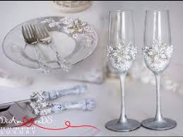 wedding glasses silver wedding set with flowers wedding glasses unity