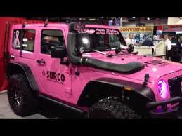 pink jeep rubicon pink jeep wrangler live 2012 sema surco products and roof racks