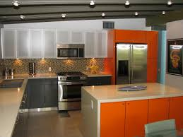 interior amazing mid century modern kitchen design ideas with amazing mid century modern kitchen design ideas with orange island and tile flooring plus recessed ceiling lighting also frame refrigerator
