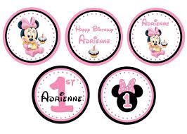 baby minnie mouse 1st birthday baby minnie mouse 1st birthday cupcake toppers 2