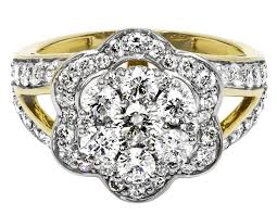 flower engagement rings yellow gold diamond cluster flower bridal wedding band