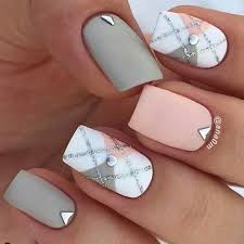 checked pattern summer squared nails rose pink and white grey