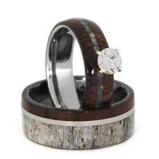unique wedding ring sets unique wedding ring set antler wedding band wood engagement ring