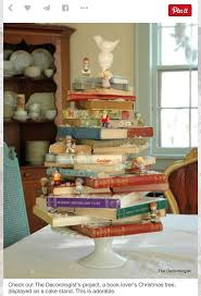 135 best creative bookstore windows images on pinterest book lover s christmas tree displayed on a cake stand perfect for december book club