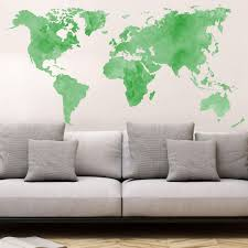 wall stickers entrance and hallway shop wall art com aquarel world map green wall sticker