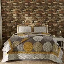 King Quilt Bedding Sets Modern Quilt Set Designer Modern Gray Yellow Large Circles