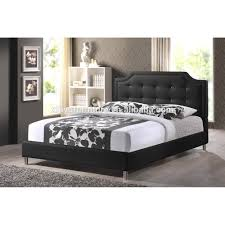 Leather Bedroom Furniture Black Fabric Queen Bed Frame Pu Leather Linen Beds Bedroom