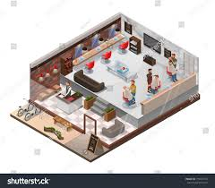 hair salon floor plans isometric 3d barber shop interior hairdresser stock vector