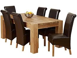 Solid Oak Dining Room Set 1home Solid Oak Dining Table Set With Chunky Legs Room