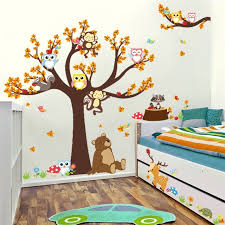 safari cartoon cartoon bear monkey owls tree wall stickers for kids room decoration