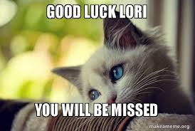 Good Luck Cat Meme - good luck lori you will be missed first world cat problems make