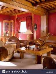 livingroom deco caramel leather upholstered art deco chairs in red alpine chalet