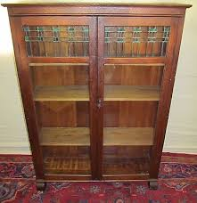 Wooden Bookcase With Glass Doors Antique Larkin Oak Bookcase With Stained Glass Doors Whats It