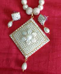 white pearls necklace designs images Buy rajasthani jewellery white pearl necklace with flower design jpeg