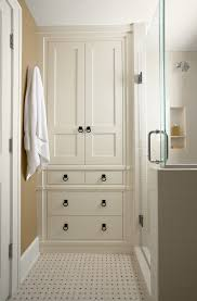Tall White Linen Cabinet Tall Corner Bathroom Linen Cabinet With Traditional Subway Tile