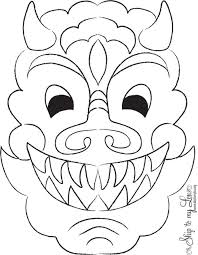 chinese dragon mask coloring coloring