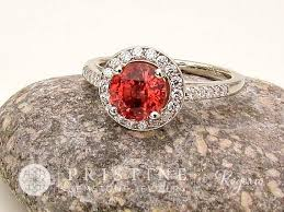 halo rings red images Apricot spinel diamond halo ring gold gemstone ring jpg