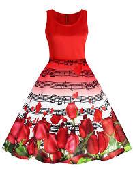 valentines dress vintage dresses 2xl musical notes roses print valentines day