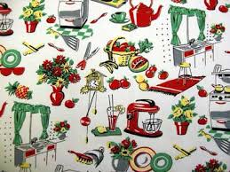 Vintage Style Kitchen Curtains by Michael Miller Fifties Kitchen Green Yellow Red Cream Vintage