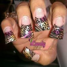 zebra acrylic nail designs bright color acrylic with zebra