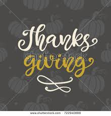 thanks giving thanksgiving day lettering greeting stock vector