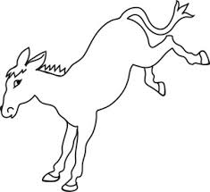donkey cartoon style clipart black white outline clip