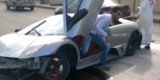 crashed lamborghini lamborghini murcielago damaged in hit and run accident in saudi