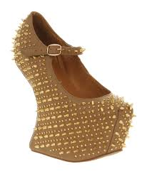 jeffrey campbell prickly wedge taupe leather gold spike high heels