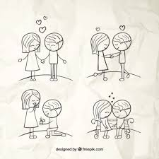 hand drawn love couples vector free download