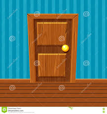 cartoon wooden door home interior stock vector image 74130780