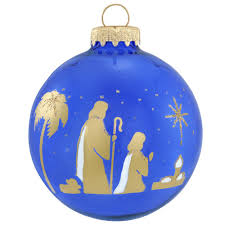 shepherd gold on blue silhouette ornament religious christmas
