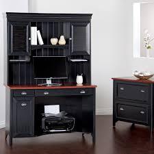 elegant black wooden corner office furniture with file cabinets