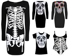 new women s ladies black skeleton dress for halloween party
