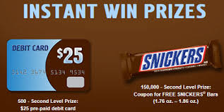 snickers candy bar and gift card instant win and sweepstakes