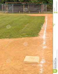 third base and chalk base path to home plate stock photo image
