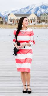 downeast dresses pray always modest coral striped dress uplifting accessories