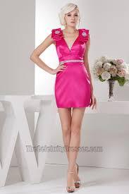 short mini fuchsia backless party cocktail dresses