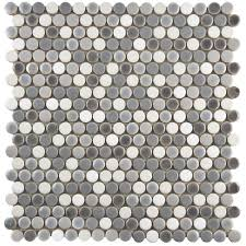 Shower Floor Mosaic Tiles by Merola Tile Comet Penny Round Luna 11 1 4 In X 11 3 4 In X 9 Mm