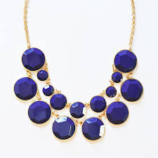 gold chain bib necklace images Bauble box bib chunky gold chain statement necklace in navy blue jpg