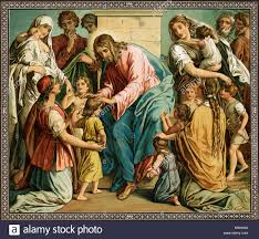 jesus with children religion christian illustration stock photo