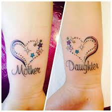 mom and daughter matching tattoos business card size net